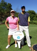 Andrea Gornick (imageOne) and Steve Metz (HP) tee off at the 31st Annual Gene Filippis Memorial Golf Benefit.